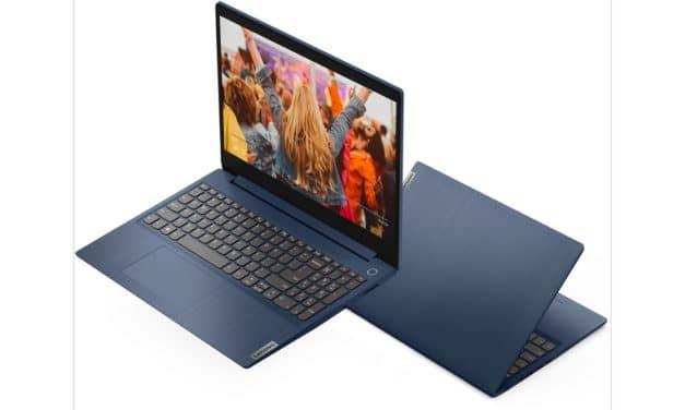 "Lenovo Ideapad 3 15ADA05-049 (81W100GFFR), PC portable 15"" bleu Full HD pas cher rapide fin et léger (499€)"