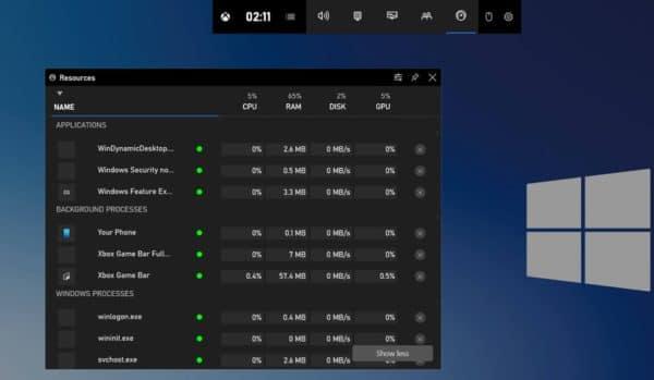 Windows 10 gestionnaire des tâches Xbox Game Bar