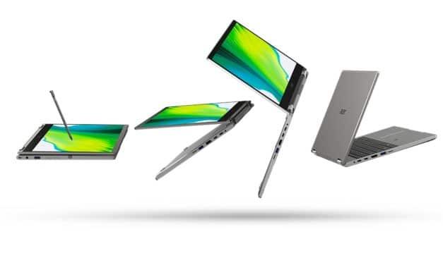 Acer Spin 3 SP313-51N et Spin 5 SP513-55N, Ultrabooks 2-en-1 tactiles > Tablette sous Intel Tiger Lake