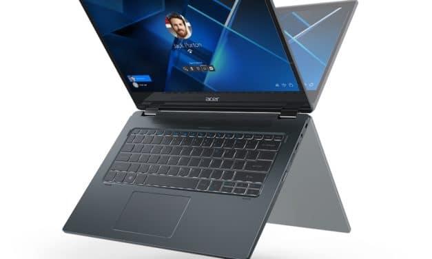 Acer TravelMate P2 TMP214-53, P4 TMP414-51 et Spin P4 TMP414RN-51, Ultrabooks (tactile > Tablette) polyvalents Pro 15h avec Tiger Lake et 4G