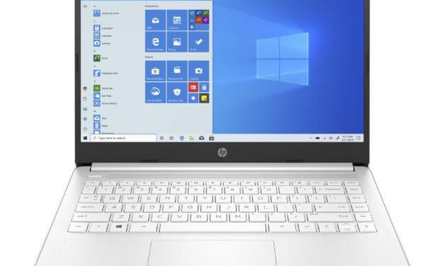 """HP 14s-fq0004nf, PC portable 14"""" pas cher blanc fin léger et rapide avec SSD (429€)"""