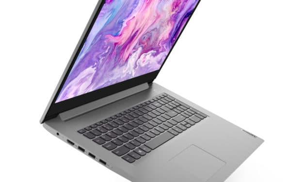 """Lenovo IdeaPad 3 17ADA05-384 (81W20056FR), PC portable 17"""" argent fin et léger avec SSD 512 Go (699€)"""