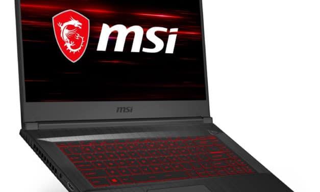 """<span class=""""nouveau"""">Nouveau 1399€</span> MSI GF65 10SDR-1037FR Thin, Ultrabook 15"""" 144Hz gamer fin et léger GTX 1660 Ti SSD Wi-Fi ax"""