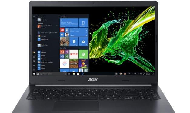 """Acer Aspire 5 A515-55-7735, Ultrabook 15"""" noir polyvalent 8h léger et rapide avec gros stockage 1.2 To et Wi-Fi ax (999€)"""