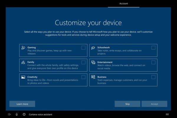 Windows 10 Preview Build 20231 personnalisation installation