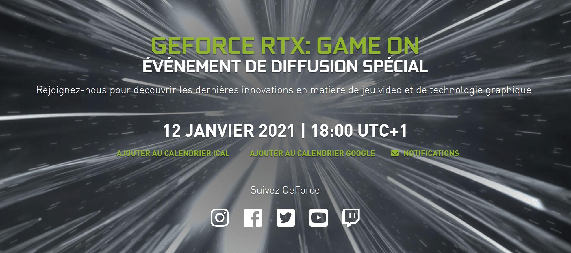 12 janvier 2021 Nvidia dévoile ses GeForce RTX 3000 pour PC portable gamer