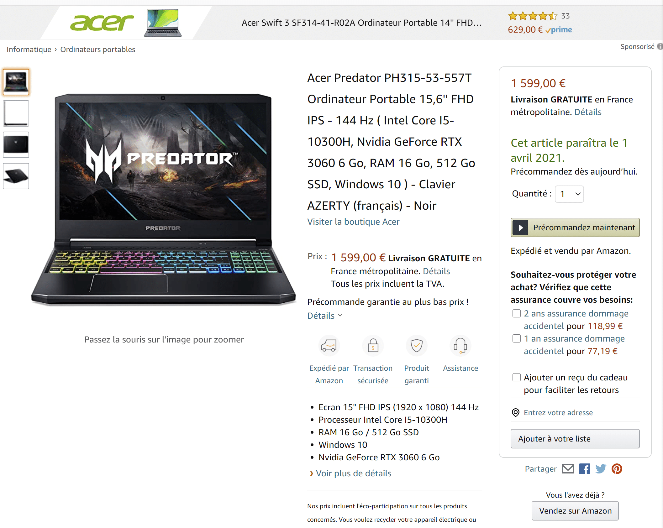 Acer Predator GeForce RTX 3600