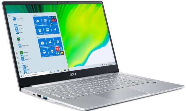 Acer Swift 3 SF314-59-57WH, ultrabook léger 14 pouces productif avec bonne autonomie et Iris Xe (899€)