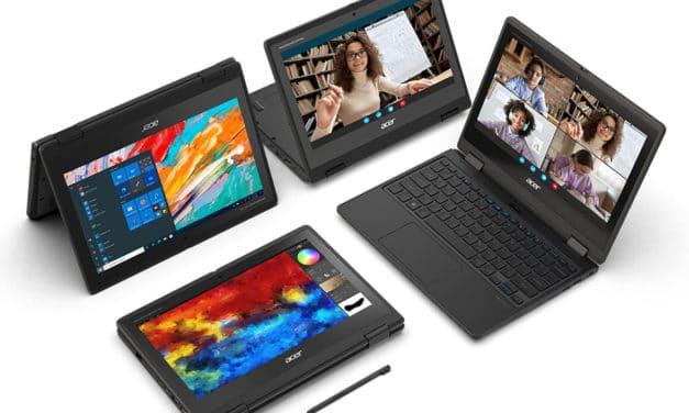 """Acer TravelMate Spin B3, nouveau PC portable 11."""" 2-en-1 tactile > Tablette 12h avec processeur Intel Jasper Lake pour écoliers"""