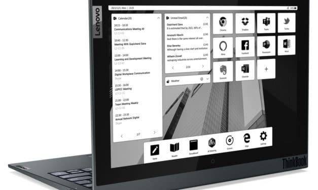"""<span class=""""tagtitre"""">CES 2021 - </span>Lenovo ThinkBook Plus Gen 2i, Ultrabook à double écran 13"""" et 12"""" E-Ink sous Tiger Lake Iris Xe, 24 heures"""