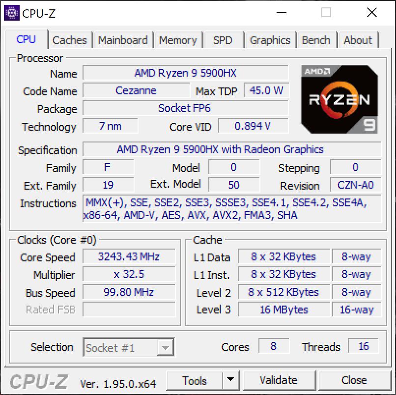 AMD Ryzen 9 5900HX CPUZ