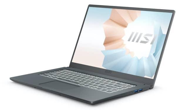 MSI Modern 15 A11M-050XFR, ultrabook 15 pouces léger pour le multimédia avec Iris Xe (849€)