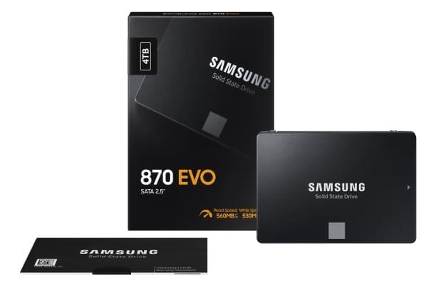 """<span class=""""tagtitre"""">Samsung 870 Evo - </span>nouveau SSD 2.5 pouces garanti 5 ans, de 250 Go à 4 To de stockage"""