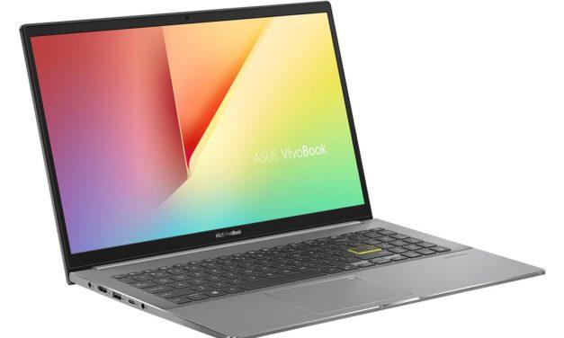"""Asus Vivobook S533EQ-BQ121T, Ultrabook 15"""" polyvalent noir léger fin et rapide 9h avec Tiger Lake Iris Xe MX350 TB4 (1199€)"""