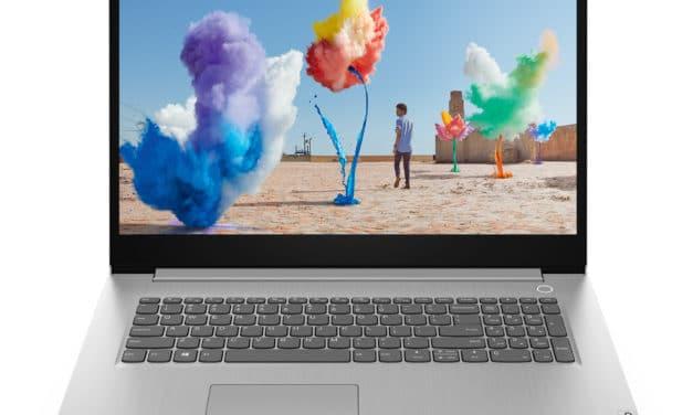 """<span class=""""promo"""">Promo 599€</span> Lenovo Ideapad 3 17IIL05-876 (81WF001QFR), Ultrabook 17"""" pas cher argent élégant fin et léger avec gros stockage"""