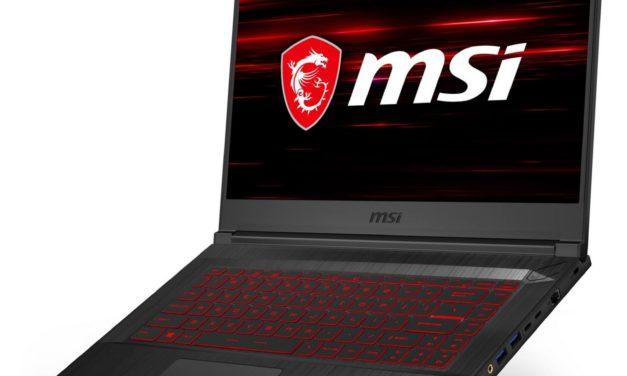 MSI GF65 10UE-040FR, PC gamer fin et léger 15 pouces avec RTX 3060 Max-Q (1533€)