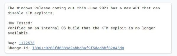 Windows 10 21H1 juin 2021 Chromium code
