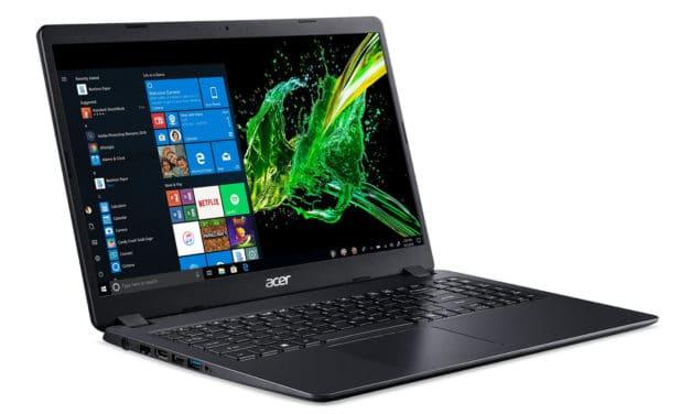 """Acer Aspire 3 A315-56-3539, Ultrabook 15"""" Full HD noir pas cher rapide fin et léger avec SSD (549€)"""