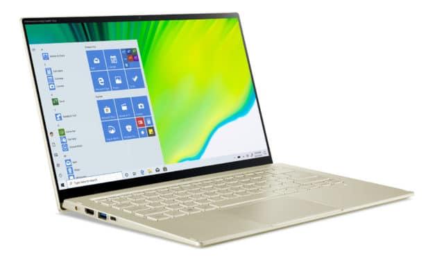 "Acer Swift 5 SF514-55T-59E4, Ultrabook 14"" tactile polyvalent Or 9h fin rapide et léger 1 Kg avec Tiger Lake Iris Xe (1099€)"
