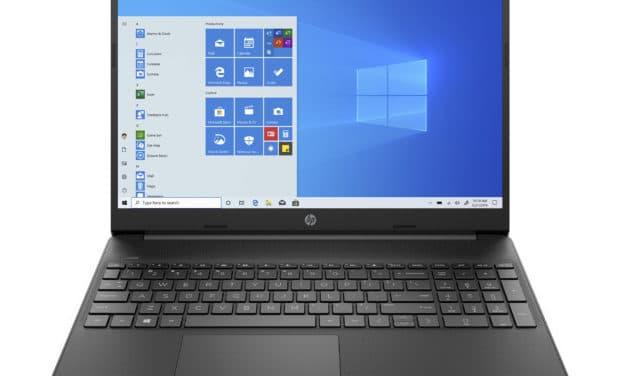 """HP 15s-eq1080nf, PC portable 15"""" bureautique noir pas cher rapide fin et léger pour petits budgets avec SSD et USB-C (289€)"""