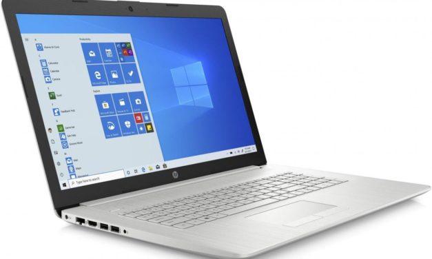 HP 17-ca2024nf, PC portable 17 pouces rapide avec graveur DVD pour bureautique (599€)