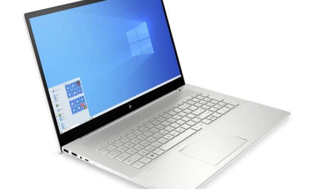 """HP Envy 17-cg1027nf, PC portable 17"""" polyvalent argent fin avec Tiger Lake Iris Xe et MX450 (1109€)"""