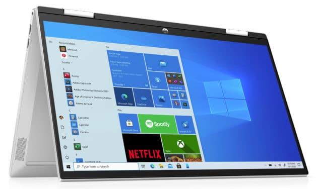 """HP Pavilion x360 14-dy0008nf, Ultrabook 14"""" tactile Tablette argent polyvalent rapide fin et léger avec Tiger Lake Iris Xe (854€)"""