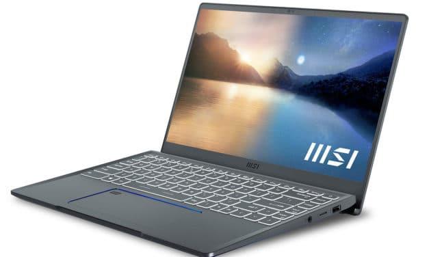"MSI Prestige 14 Evo A11M-415FR, Ultrabook 14"" polyvalent Tiger Lake Iris Xe léger fin et rapide avec TB4 (1299€)"