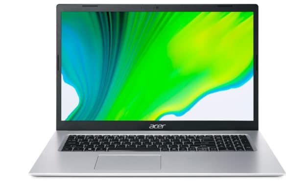 """Acer Aspire 3 A317-33-P3DV, PC portable 17"""" argent bureautique pas cher Jasper Lake fin avec gros stockage 1 To (499€)"""