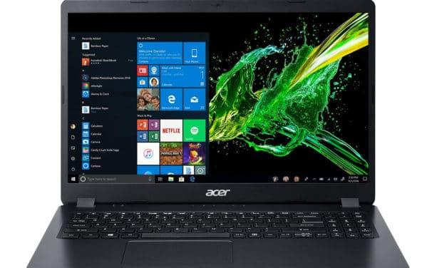 "Acer Aspire 3 A315-56-53X9, Ultrabook 15"" noir pas cher discret rapide léger et fin avec SSD (549€)"