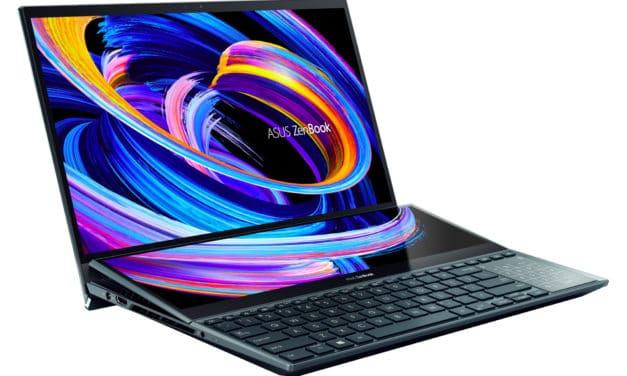 """<span class=""""nouveau"""">Nouveau 3299€</span> Asus Zenbook Pro Duo UX582LR-H2013T, PC portable 15"""" OLED 4K tactile gamer créateur RTX 3070 ScreenPad TB3"""