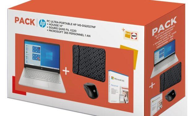 "<span class=""promo-best"">Promo 499€</span> HP 14s-dq2027nf, Ultrabook 14"" argent polyvalent léger fin rapide Tiger Lake SSD en pack: souris, housse et Microsoft 365 1 an"