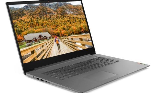 Lenovo IdeaPad 3 17ALC6, PC portable 17 pouces fin et rapide avec Ryzen 7 Octo Core (719€)