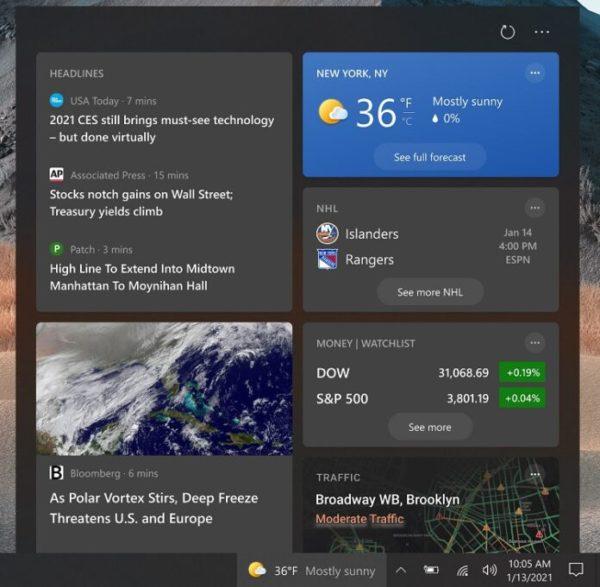 Windows 10 21H2 Sun Valley widget meteo actualite