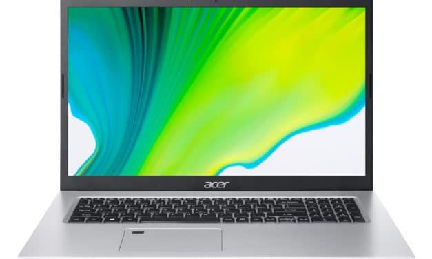 """<span class=""""nouveau"""">Nouveau 999€</span> Acer Aspire 5 A517-52G-50MA, Ultrabook 17"""" argent polyvalent fin avec gros stockage 1.2 To, Tiger Lake et GeForce"""