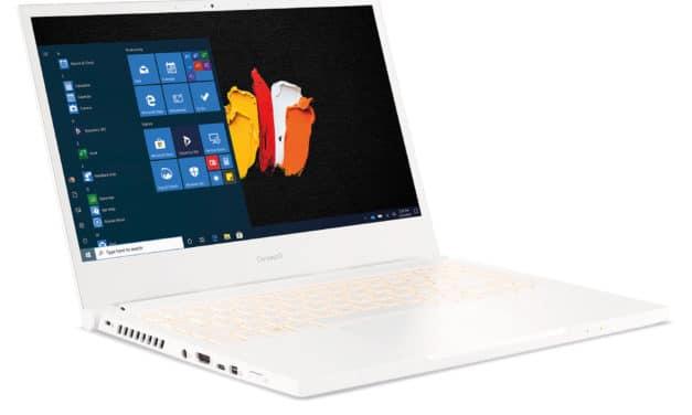 """Acer ConceptD 3 CN314-72G-731B, Ultrabook 14"""" Pantone Pro blanc polyvalent fin léger TB3 pour créateurs GTX 1650 Ti (1699€)"""