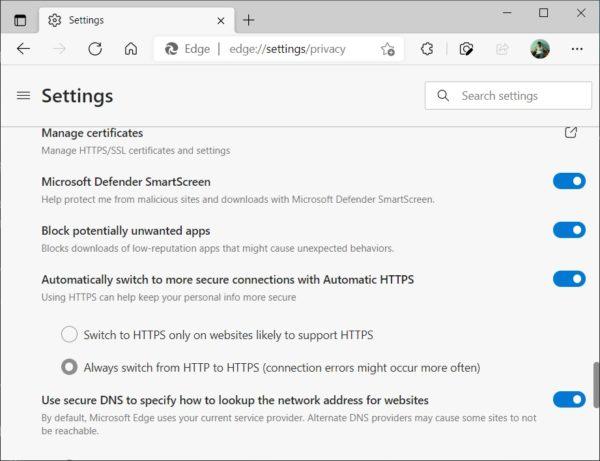 Edge Chromium 92 HTTPS