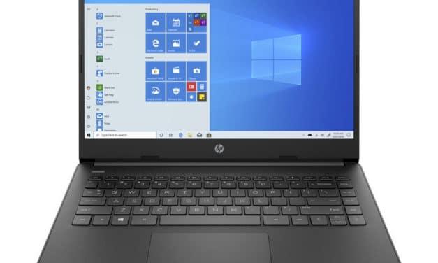 """<span class=""""nouveau"""">Nouveau 329€</span> HP 14s-fq0098nf, PC portable 14"""" noir pas cher bureautique fin léger et rapide avec SSD et USB-C"""