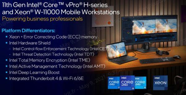 Intel Tiger Lake-H Hexa Core Octo Core vPro
