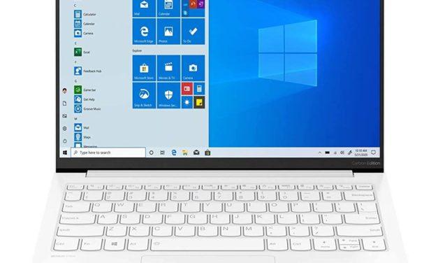 Lenovo Yoga Slim 7 Carbon 13ITL5, ultrabook 13 pouces blanc très léger et productif avec écran Rétina (1099€)