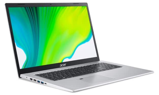 """Acer Aspire 5 A517-52-54PS, Ultrabook 17"""" polyvalent Tiger Lake Iris Xe rapide et fin au design argent élégant (819€)"""