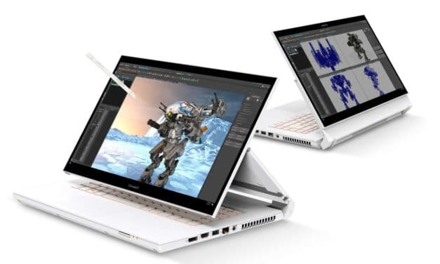 Acer ConceptD 3 (Pro), ConceptD 5 (Pro) et ConceptD 7 Ezel, nouveaux PC portables pour créatifs avec Intel Tiger Lake-H et NVIDIA GeForce RTX 3000/Quadro