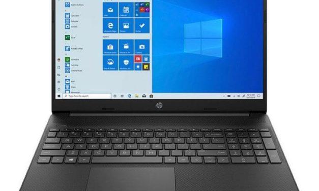 """HP 15s-eq1121nf, PC portable 15"""" noir bureautique pas cher léger rapide et fin avec SSD et USB-C (289€)"""