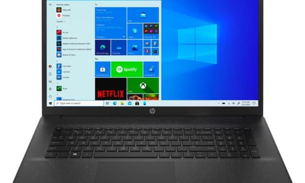"""HP 17-cp0076nf, PC portable 17"""" noir bureautique pas cher et fin avec grosse capacité de stockage et USB-C (449€)"""