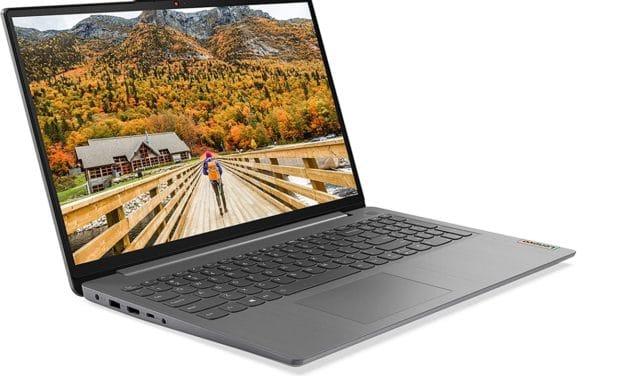 """<span class=""""nouveau"""">Nouveau 599€</span> Lenovo IdeaPad 3 15ALC6 (82KU002BFR), PC portable 15"""" AMD Hexa Core polyvalent argent pas cher léger rapide et fin avec SSD"""