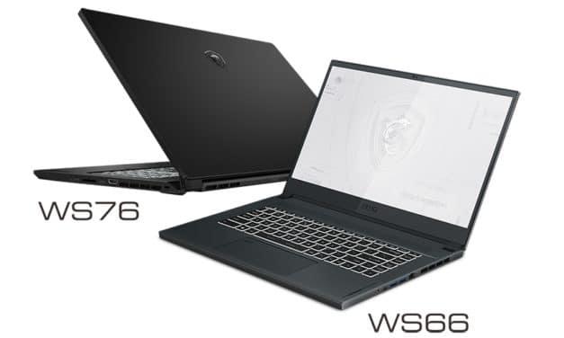 """MSI WS66 et WS76, Ultrabooks 15"""" et 17"""" 4K professionnels avec RTX A5000 Ampere et Tiger Lake-H Octo Core i9"""