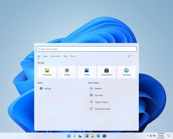 Windows 11 Sun Valley recherche