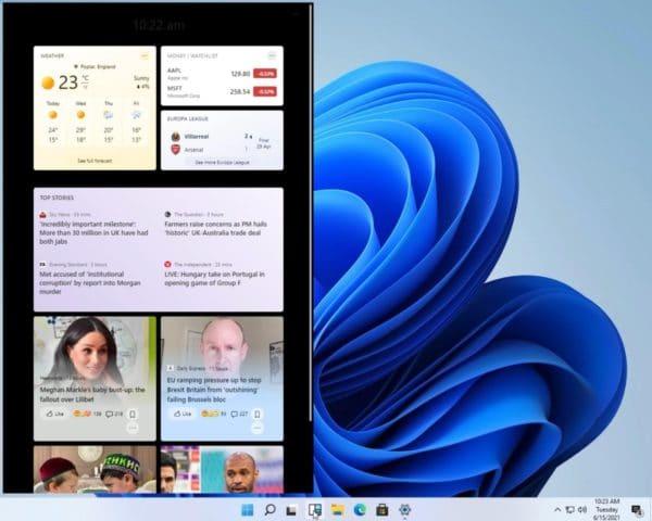 Windows 11 Sun Valley widgets