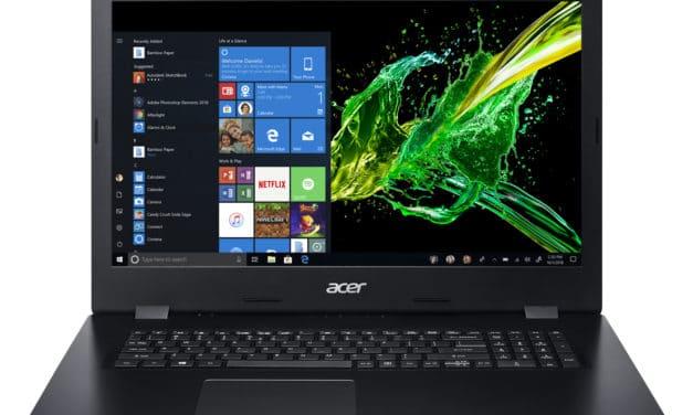 """Acer Aspire 3 A317-53-34A6, PC portable 17"""" noir pas cher polyvalent fin avec SSD 512 Go (549€)"""