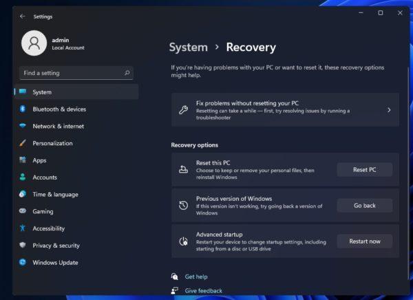 Windows 11 revenir sous Windows 10 apres 10 jours